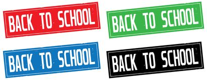 BACK TO SCHOOL text, on rectangle stamp sign. Stock Photos