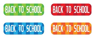 BACK TO SCHOOL text, on rectangle, zig zag pattern stamp sign. Stock Photos