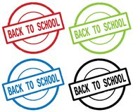 BACK TO SCHOOL text, on round simple stamp sign. Stock Photos