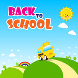 Back to school text, school bus on the green field with sun rain Royalty Free Stock Images