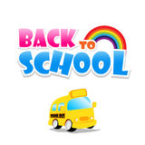 Back to school text with school bus on the white background Stock Images