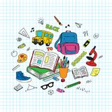 Back to School text. School and studying stuff doodle with grid paper background vector illustration