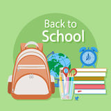 Back to school text. Schooling Flat concept background. Back to school text. Textbooks, alarm clock, schoolbag, globe, stationery. Schooling Flat concept Royalty Free Stock Photos