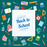 Back to School text on a sheet of notebook. Stock Photography