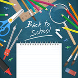 Back to school text with supplies  illustration Royalty Free Stock Image