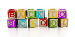 Back to school text with toy blocks  on white.  Royalty Free Stock Photography