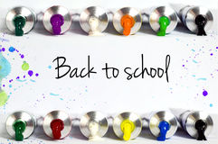 Back to school text with tube paint borders. Back to school text and tube paint borders royalty free stock photos