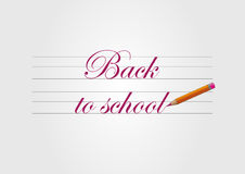 Back to school text typeface warp. Back to school red text typeface warp and pencil Stock Photos