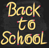 Back to School Text Typography Made of Pencil on Black. Textured Background. Vector Illustration Stock Photography