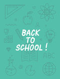 Back to school text with various education icon elements on background Stock Image