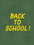 Back to school text with various education icon elements on background. Royalty Free Stock Photo