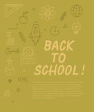 Back to school text with various education icon elements on background. Stock Image