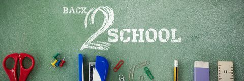 Composite image of back to school text on white background Royalty Free Stock Photo