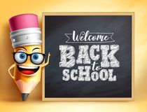Free Back To School Text With Pencil Vector Character. Pencil Mascot Wearing Teacher`s Glasses Royalty Free Stock Image - 153462526
