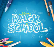 Back to School Text Written in Blue Chalkboard Background Royalty Free Stock Photos