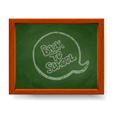 Back to school text written in chalk on blackboard Stock Photo