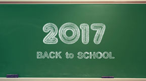 Back to School 2017. Texts on green chalkboard Royalty Free Stock Images