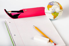 Back to school theme. With various school related tools Royalty Free Stock Photo