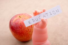 Back to school theme with an apple Royalty Free Stock Photos