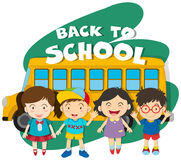 Back to school theme with children and bus Stock Image