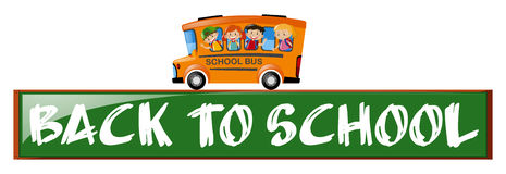 Back to school theme with children on school bus. Illustration Royalty Free Stock Images