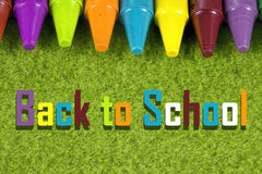 Back to school theme with colorful pastel crayons. On green background Stock Images