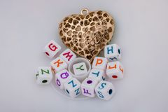 Back to school theme with a heart. On white Stock Image