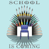 Back to school theme illustration with supplies set and text: School is coming Royalty Free Stock Image