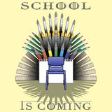 Back to school theme illustration with supplies set and text: School is coming Royalty Free Stock Images