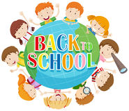 Back to school theme with kids around the globe. Illustration Stock Image