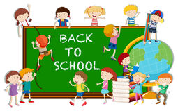 Back to school theme with kids and board Stock Images