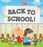 Back to school theme with kids and computers. Illustration royalty free illustration