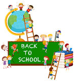 Back to school theme with kids and globe Stock Photos