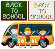 Back to school theme with kids and school van stock illustration
