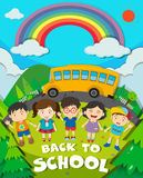 Back to school theme with school bus and kids Stock Photo