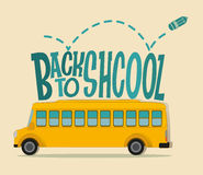 Back to school theme with schoolbus Royalty Free Stock Photography