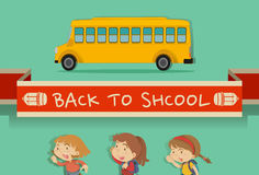 Back to school theme with students and bus Royalty Free Stock Image