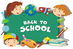 Back to school theme with students and objects Royalty Free Stock Images