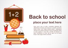 Back to school theme, vctor illustration. Back to school - background with education icons Royalty Free Stock Photo