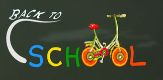 Back to school. Back to school theme with writing on blackboard Stock Photo