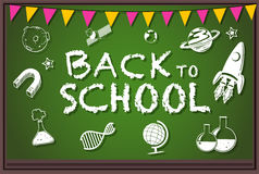 Back to school theme with writing on board Royalty Free Stock Photography