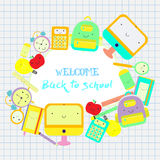 Back to school themed frame text. Back to school  background with education icons Stock Images