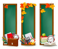 Back to school Three banners with school supplies Royalty Free Stock Photos