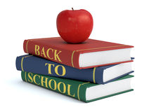 Back to school. Three books with text: back to school and a red apple, white background (3d render Royalty Free Stock Image