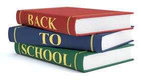 Back to school. Three books with text: back to school, white background 3d render Royalty Free Stock Photos