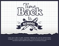 Back to School Time Sticker with Text on White Stock Image