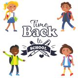 Back to School Time Sticker Surrounded by Pupils Stock Image