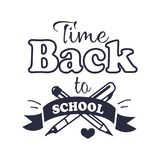 Back to School Time Sticker with Text on White Royalty Free Stock Photography