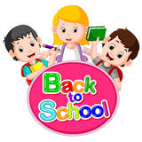 Back to School Title Texts with cute children. Illustration of Back to School Title Texts with cute children Royalty Free Stock Photos