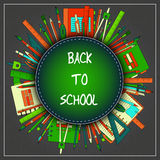 Back to School Title Texts with Items in a Circle for Poster Design vector illustration